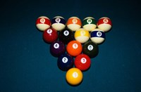 Billiard Balls Racked Up On Pool Table Fine Art Print