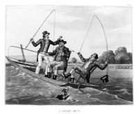 1800s Three 19Th Century Men In Boat Fishing Fine Art Print
