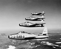 1950s Four Us Air Force F-84 Thunderjet Fighter Fine Art Print