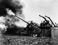 1940s Wwii Big Artillery Railroad Gun Firing Fine Art Print