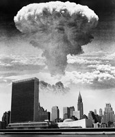 1950s 1960s Mushroom Cloud Over United Nations Building Fine Art Print