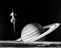 1960s Space Rocket Flying Past Saturn Fine Art Print