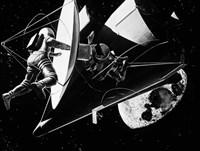 Illustration 1960s Weightless Astronauts Eva Fine Art Print