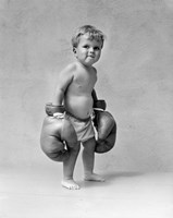 1930s Baby Boy Toddler Wearing  Boxing Gloves Fine Art Print