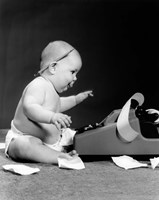 1960s Side View Of Chubby Baby Fine Art Print