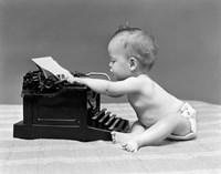 1940s Baby In Diaper Typing Fine Art Print