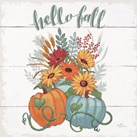 Fall Fun II - Gray and Blue Pumpkin Fine Art Print