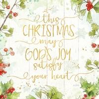 Christmas Sentiments III Gold on Wood Fine Art Print