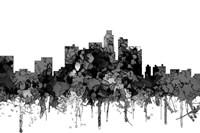 Los Angeles California Skyline - Cartoon B&W Fine Art Print