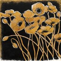 Gold Black Line Poppies I Fine Art Print