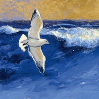 Seagulls with Gold Sky II Fine Art Print