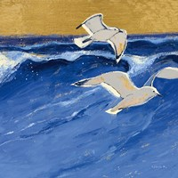 Seagulls with Gold Sky III Fine Art Print