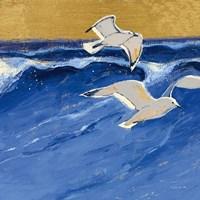 Seagulls with Gold Sky III Fine Art Print
