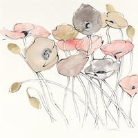 Black Line Poppies I Watercolor Neutral Fine Art Print