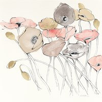 Black Line Poppies I Watercolor Neutral Fine Art Print
