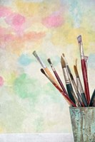Paint Brushes and Aquarel Fine Art Print
