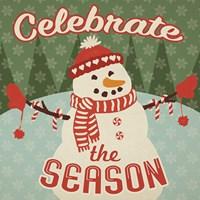 Retro Christmas VII Celebrate the Season Framed Print