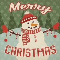 Retro Christmas VII Merry Christmas Framed Print
