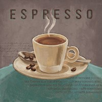 Coffee and Co III Teal and Gray Fine Art Print