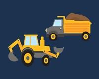 Construction Wash Brush Trucks Fine Art Print