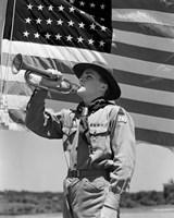 1940s Boy Scout Playing Bugle Fine Art Print