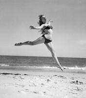 1950s Woman In Bikini Running Fine Art Print