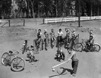 1950s 10 Neighborhood Boys Playing Sand Lot Baseball Fine Art Print