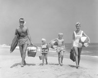 1950s Family Of Four Walking Towards Camera Fine Art Print