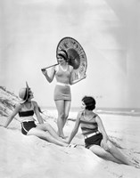 1920s Three Smiling Women In Swimsuits At The Beach Fine Art Print