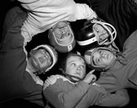 1960s Five Boys In Huddle Wearing Helmets & Football Jerseys Fine Art Print