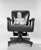 1960s Baby Sitting In Executive Office Chair Fine Art Print