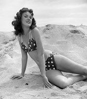 1950s 1960s Brunette Bathing  Stretched Out On Sand? Fine Art Print