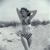1950s Brunette Beauty In Polka Dot Bikini Standing In Sand Fine Art Print