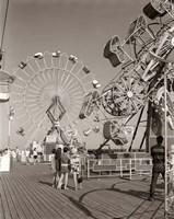 1960s Teens Looking At Amusement Rides Fine Art Print