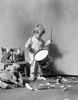 1930s Boy Beating On Toy Drum Fine Art Print