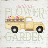 Vintage Flower Garden Truck Framed Print
