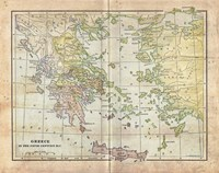 Vintage Greece Empire Map Fine Art Print