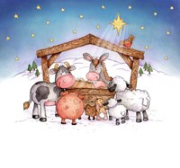 Animal Nativity Fine Art Print