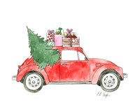 Red Car with Presents Fine Art Print