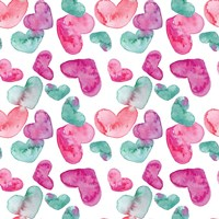 Pink Hearts Pattern Fine Art Print