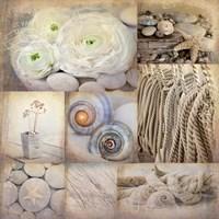 Sepia Seaside Collage I Fine Art Print