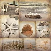Sepia Seaside Collage II Fine Art Print