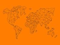 World Map Orange 2 Fine Art Print