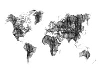 World Map Drawing 1 Fine Art Print