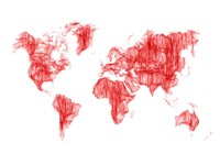 World Map Red Drawing Fine Art Print