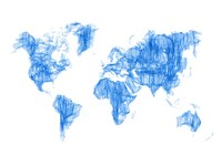 World Map Blue Drawing Fine Art Print
