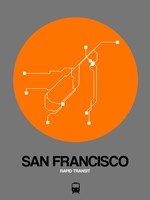 San Francisco Orange Subway Map Fine Art Print