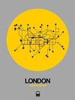 London Yellow Subway Map Fine Art Print