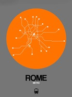 Rome Orange Subway Map Fine Art Print