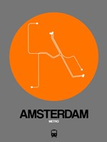 Amsterdam Orange Subway Map Fine Art Print